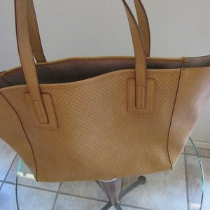 Neiman Marcus Travel Tote w/ pouch Saddle Tan NWT
